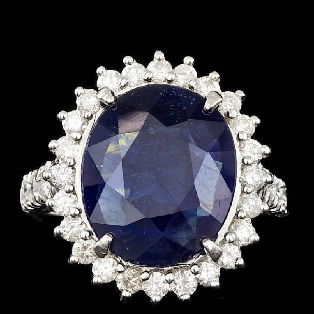 14k Gold 9.00ct Sapphire 1.10ct Diamond Ring