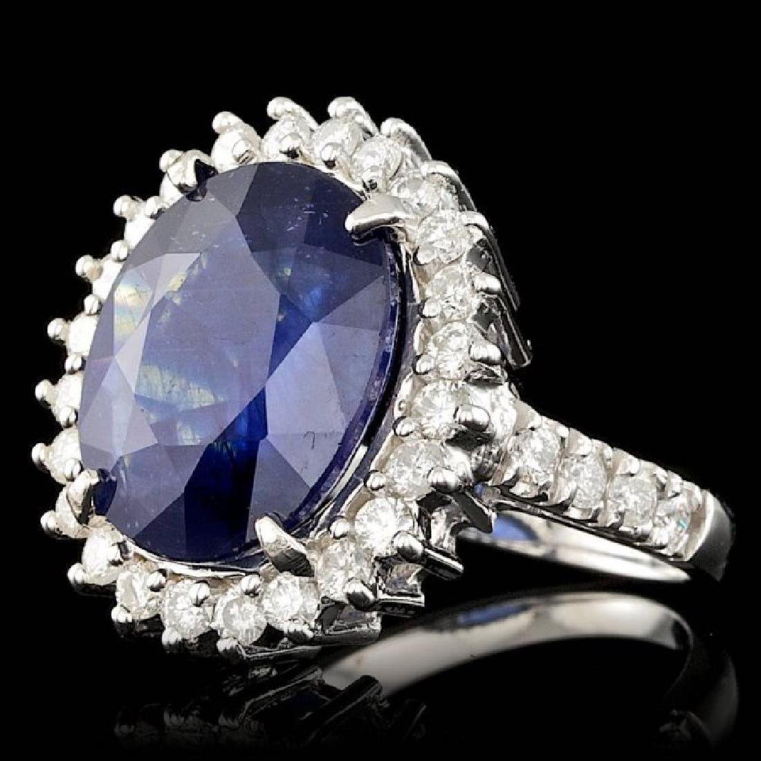 14k Gold 9.00ct Sapphire 1.10ct Diamond Ring - 2