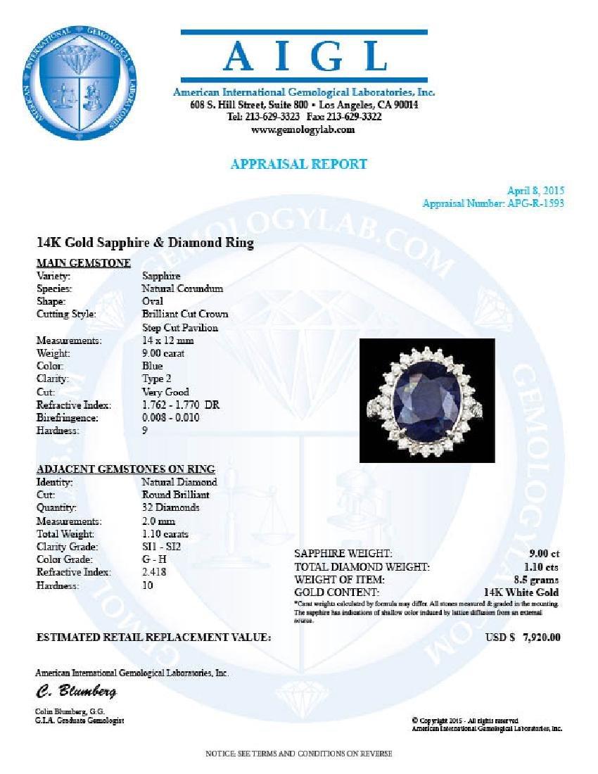 14k Gold 9.00ct Sapphire 1.10ct Diamond Ring - 5