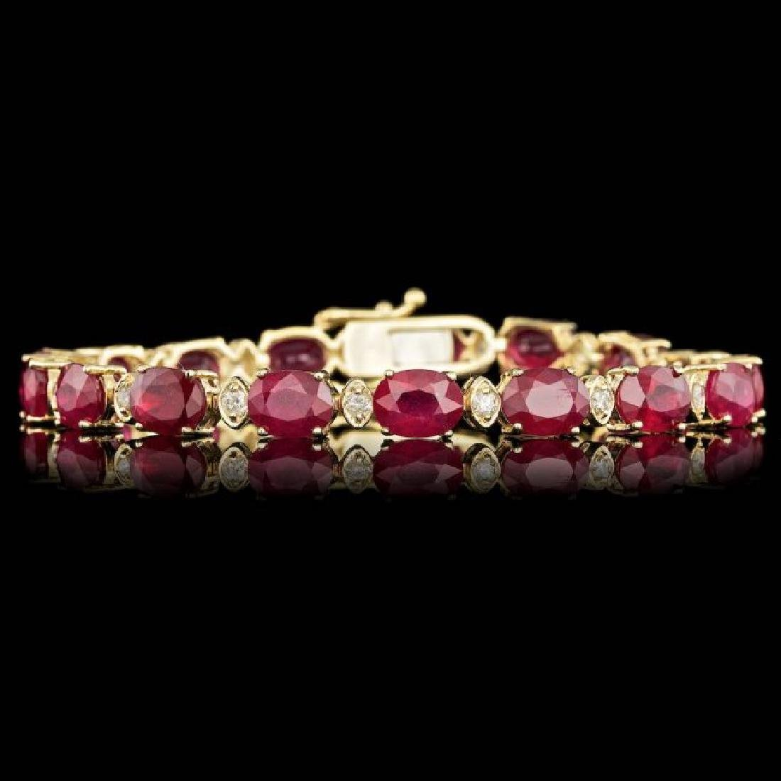 14k Gold 28.00ct Ruby 1.00ct Diamond Bracelet