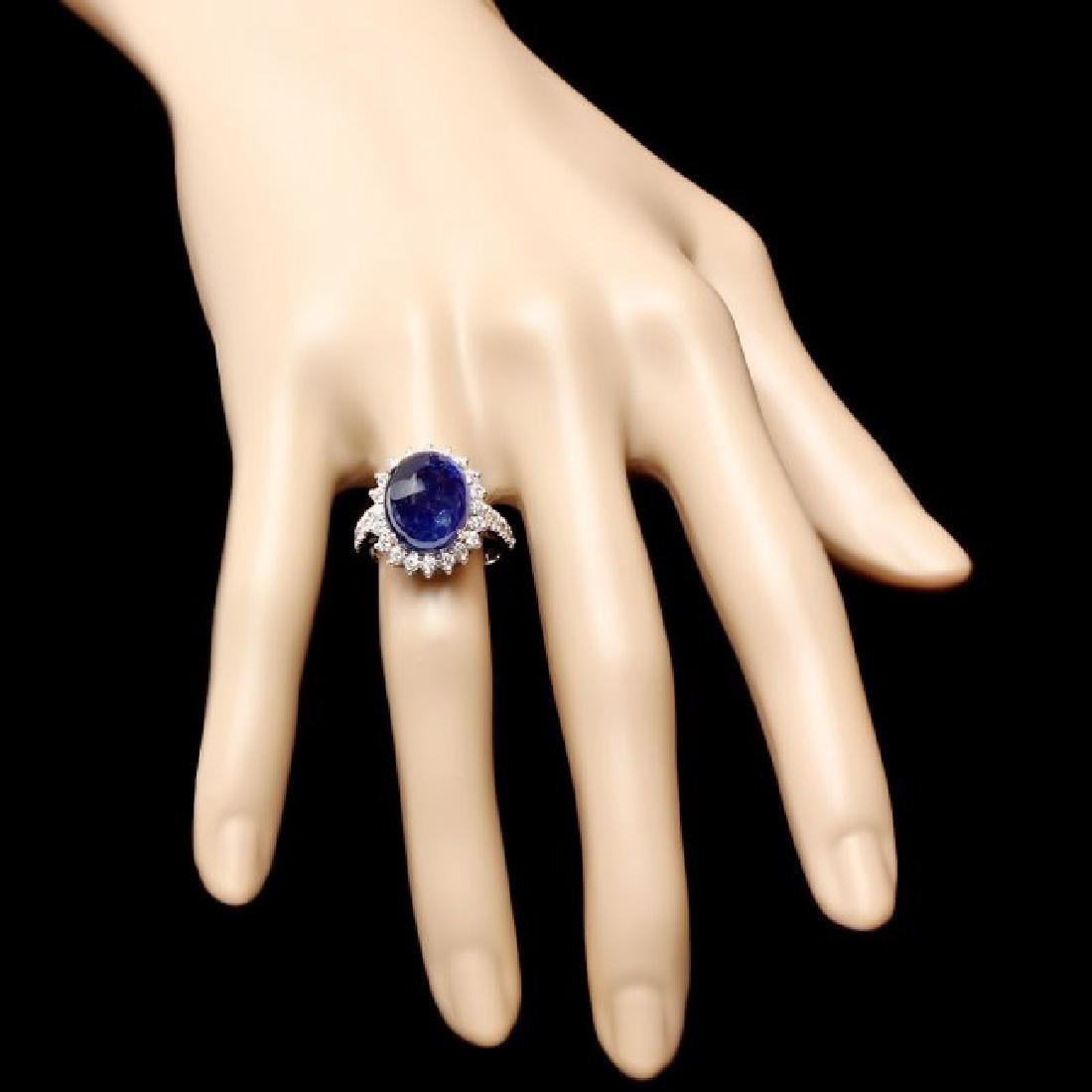14k Gold 11.50ct Sapphire 1.20ct Diamond Ring - 4