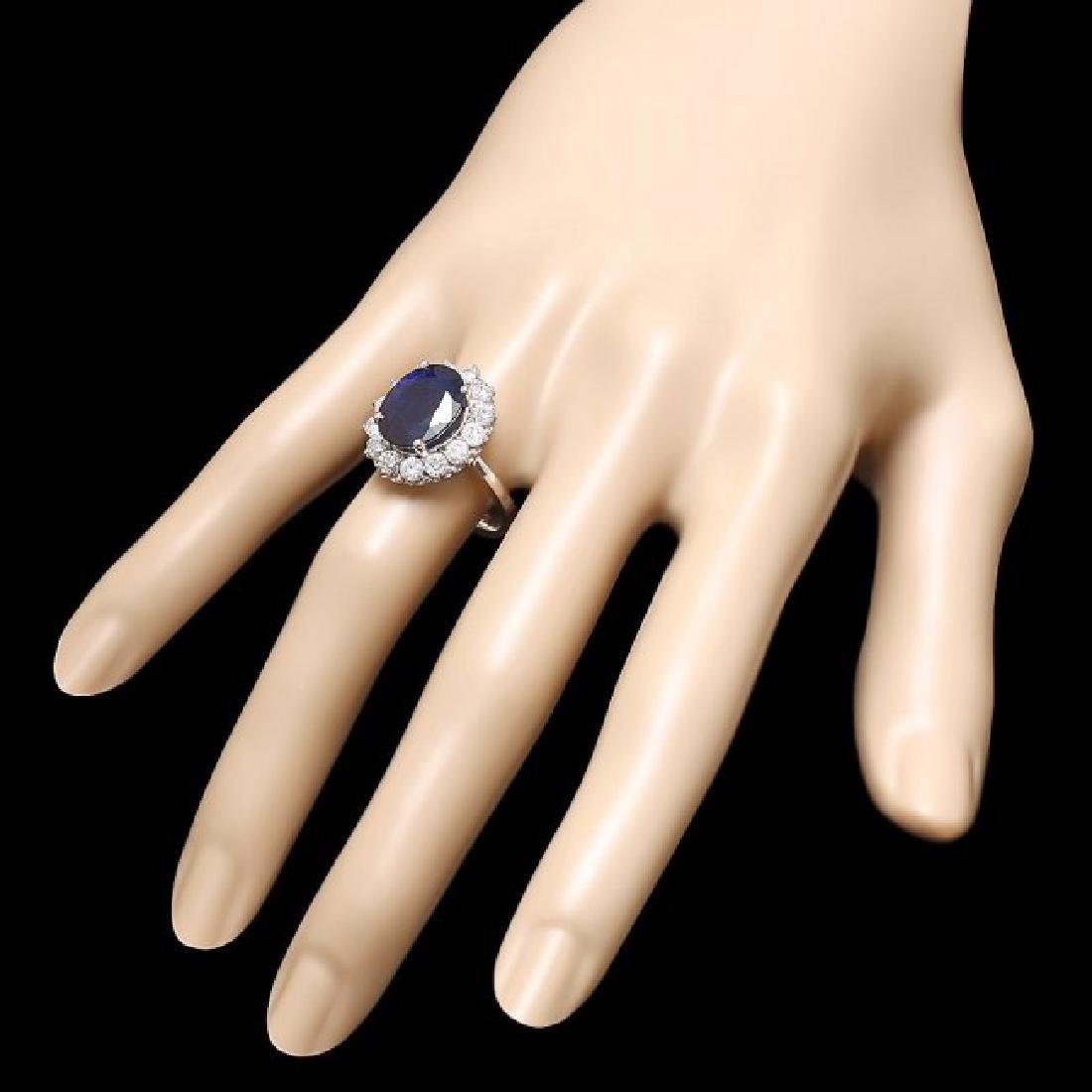 14k Gold 6.00ct Sapphire 1.40ct Diamond Ring - 3