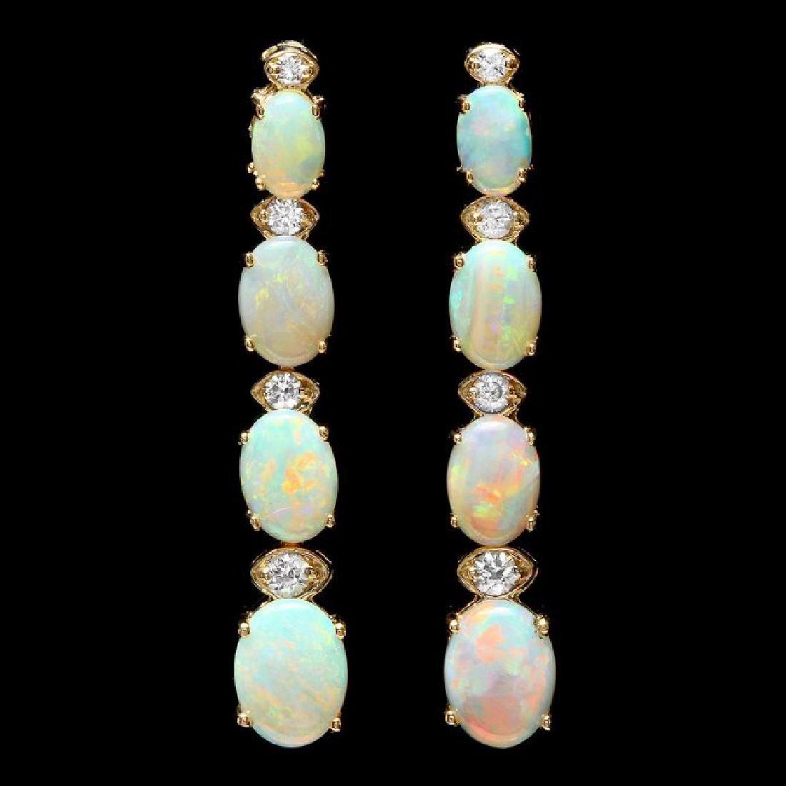 14k Gold 3.50ct Opal 0.35ct Diamond Earrings