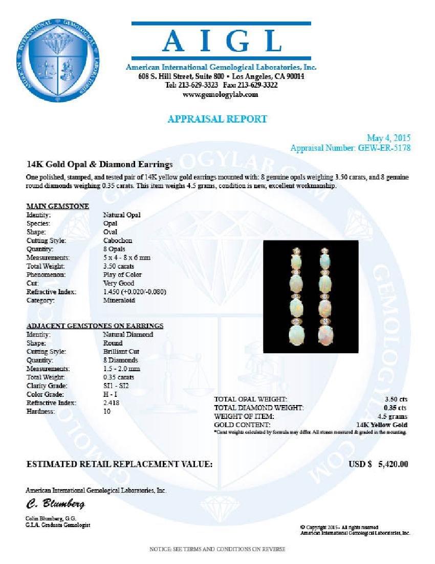 14k Gold 3.50ct Opal 0.35ct Diamond Earrings - 3
