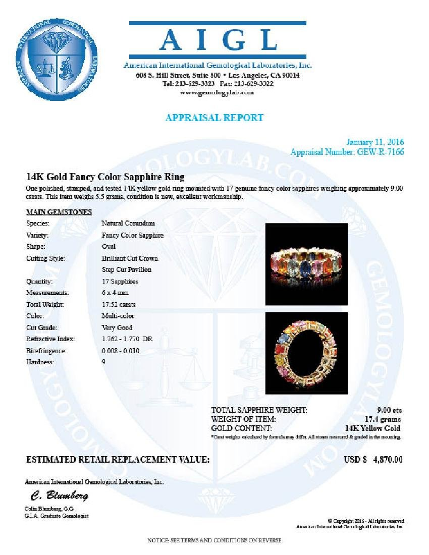 14k Yellow Gold 9.00ct Sapphire Ring - 5