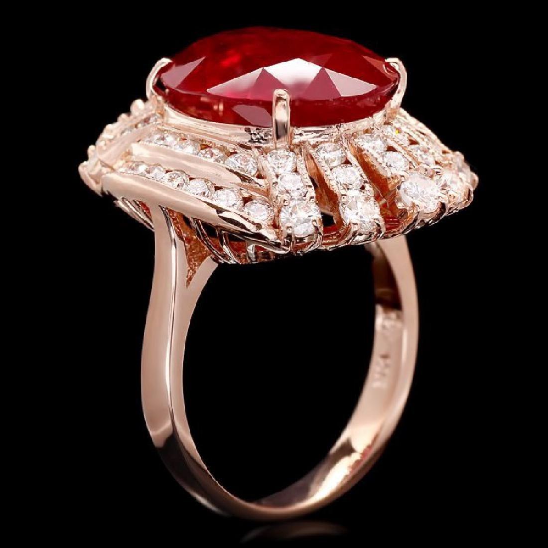 14k Rose Gold 10.00ct Ruby 1.85ct Diamond Ring