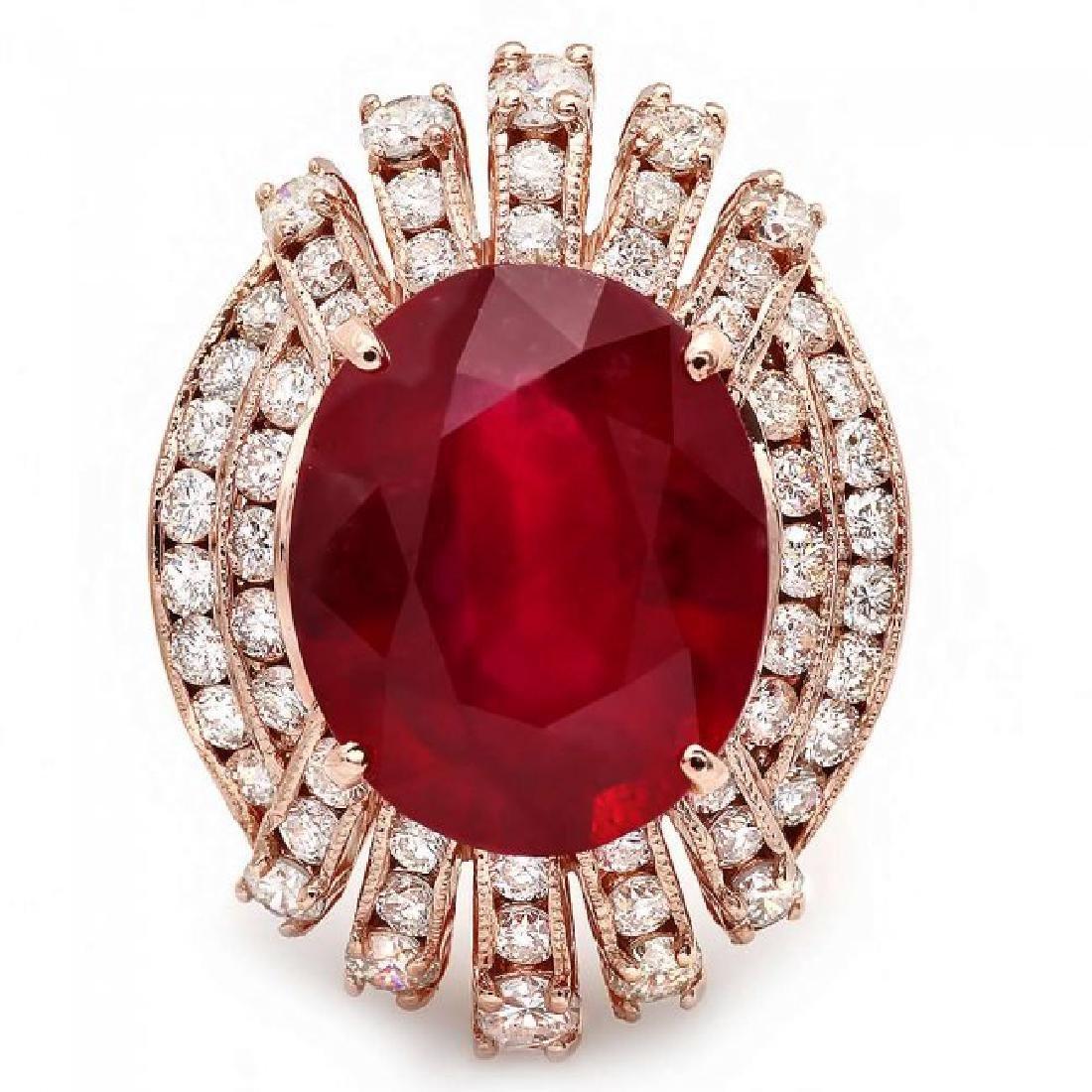 14k Rose Gold 10.00ct Ruby 1.85ct Diamond Ring - 2