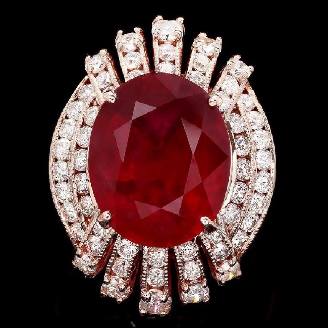 14k Rose Gold 10.00ct Ruby 1.85ct Diamond Ring - 3