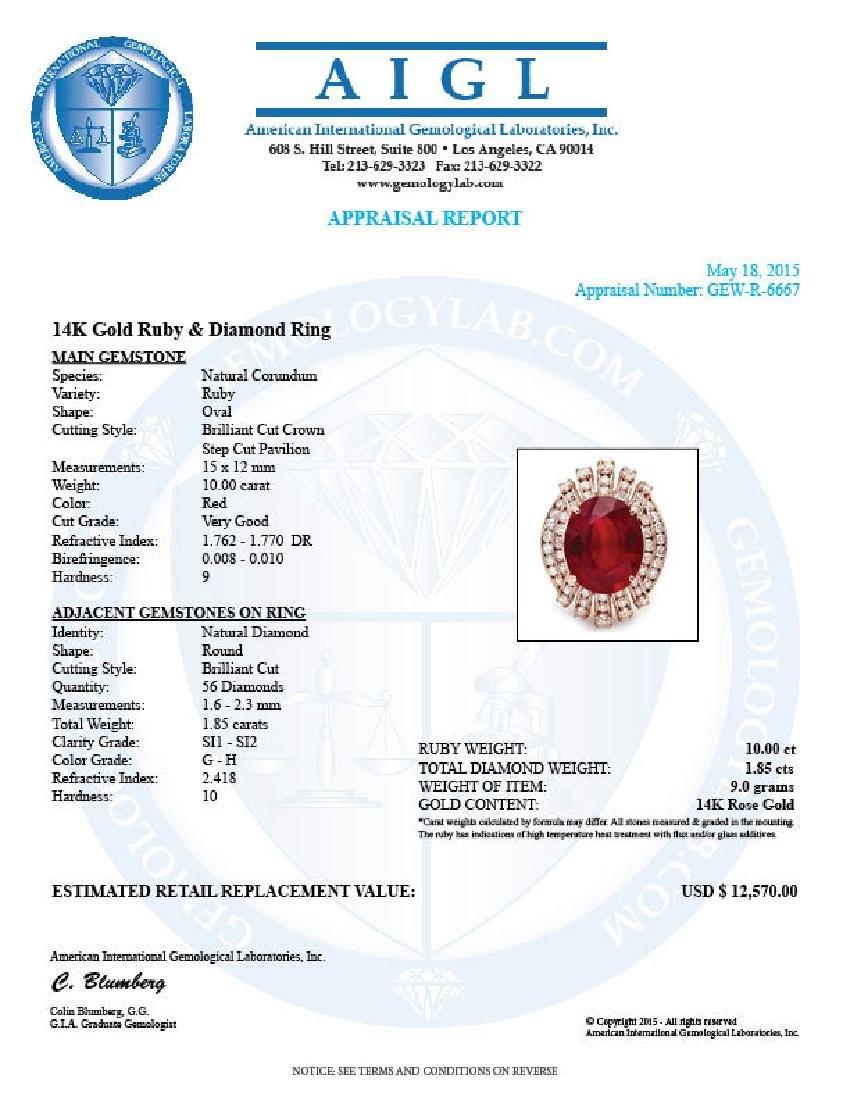 14k Rose Gold 10.00ct Ruby 1.85ct Diamond Ring - 5