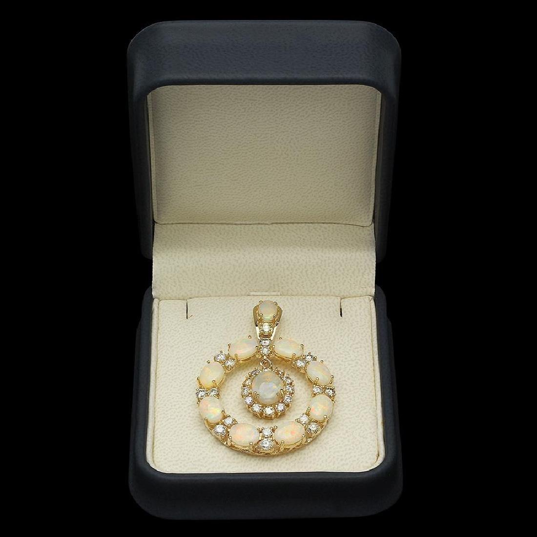 14K Gold 7.43ct Opal 2.42ct Diamond Pendant - 3