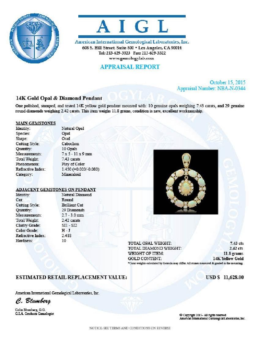 14K Gold 7.43ct Opal 2.42ct Diamond Pendant - 4