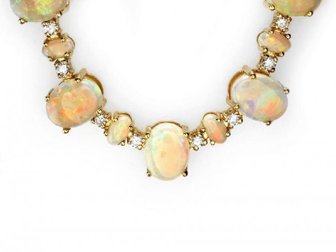 14k Yellow Gold 32ct Opal 2.25ct Diamond Necklace - 2