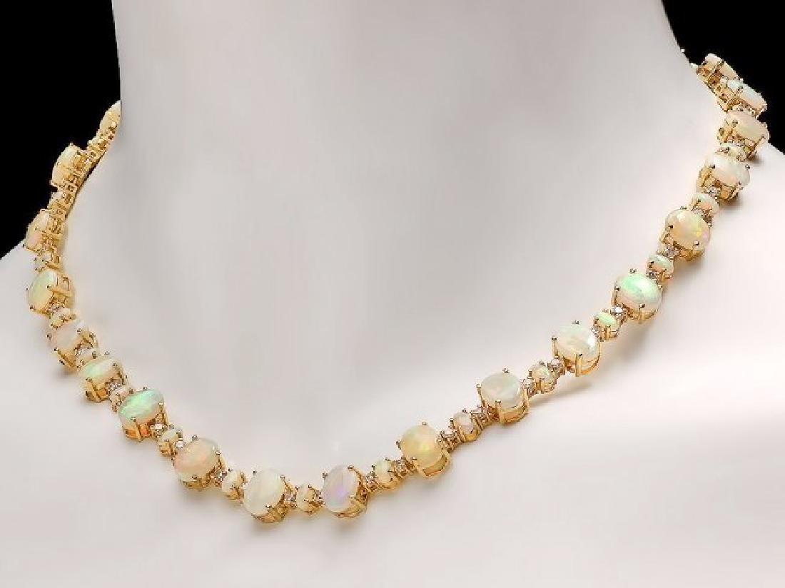 14k Yellow Gold 32ct Opal 2.25ct Diamond Necklace - 5
