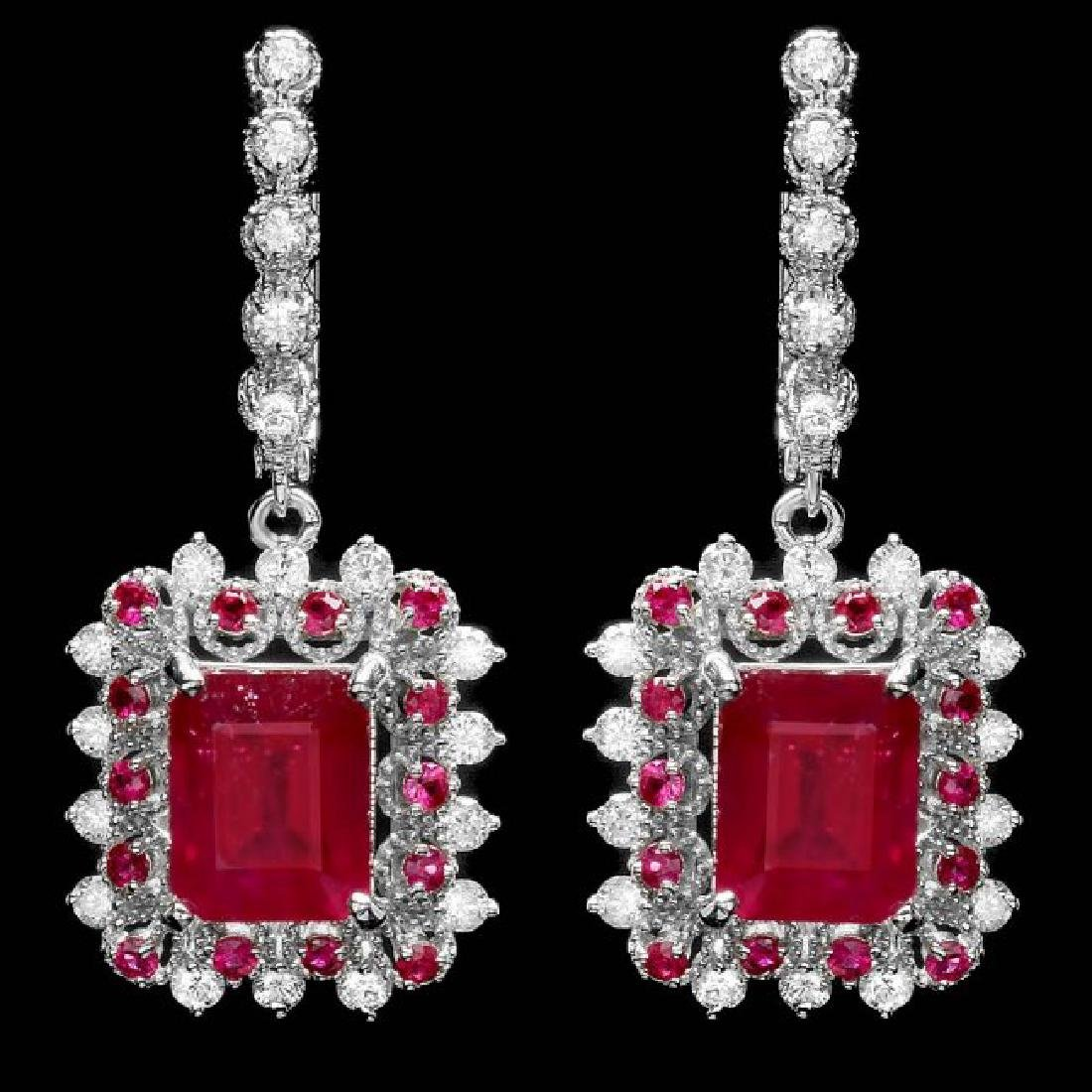 14k Gold 11.4ct Ruby 1.50ct Diamond Earrings