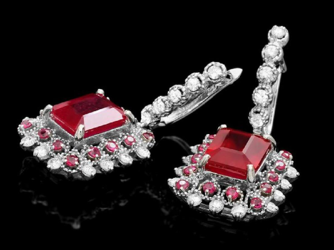 14k Gold 11.4ct Ruby 1.50ct Diamond Earrings - 2
