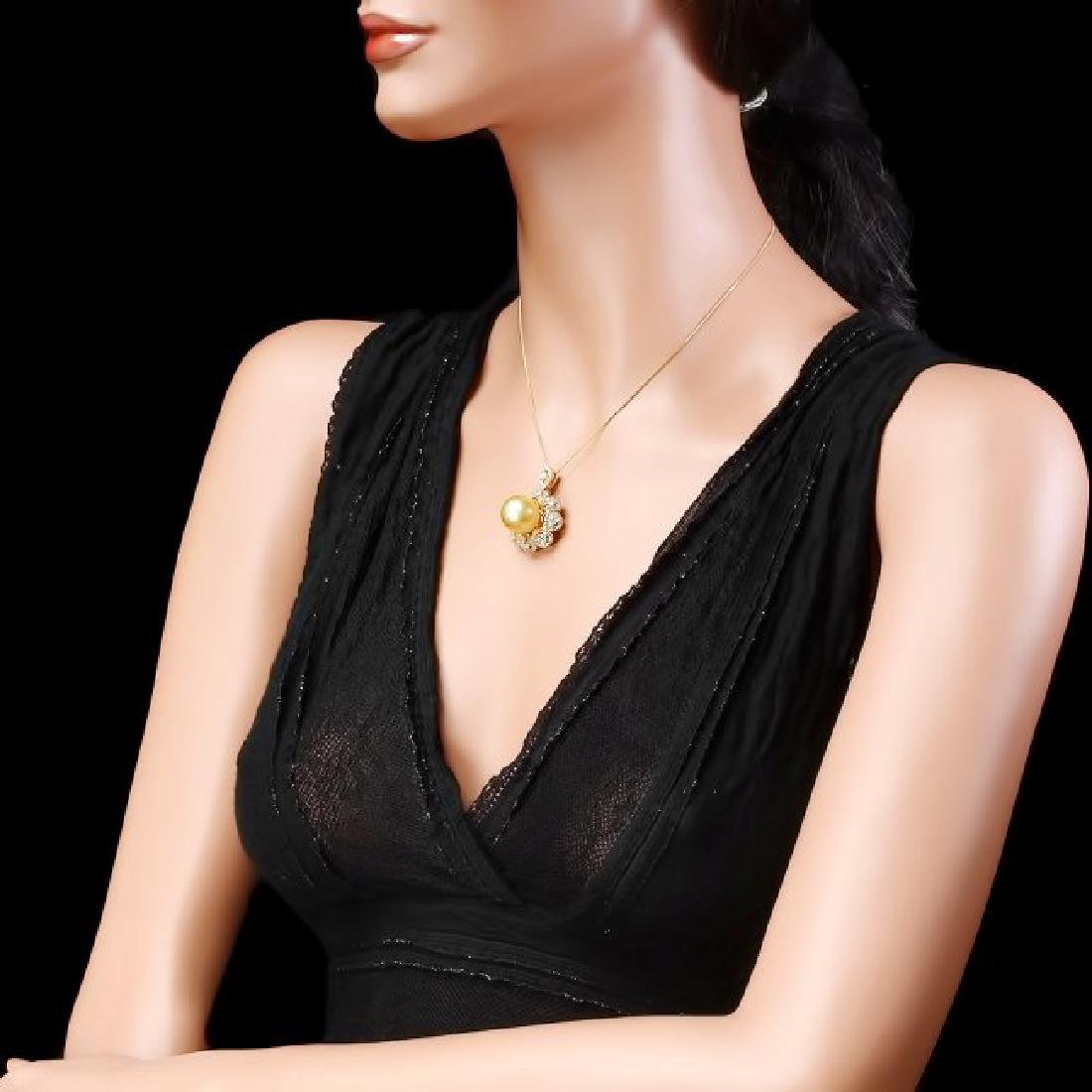 14k Yellow Gold 15mm Pearl 3.00ct Diamond Pendant - 4
