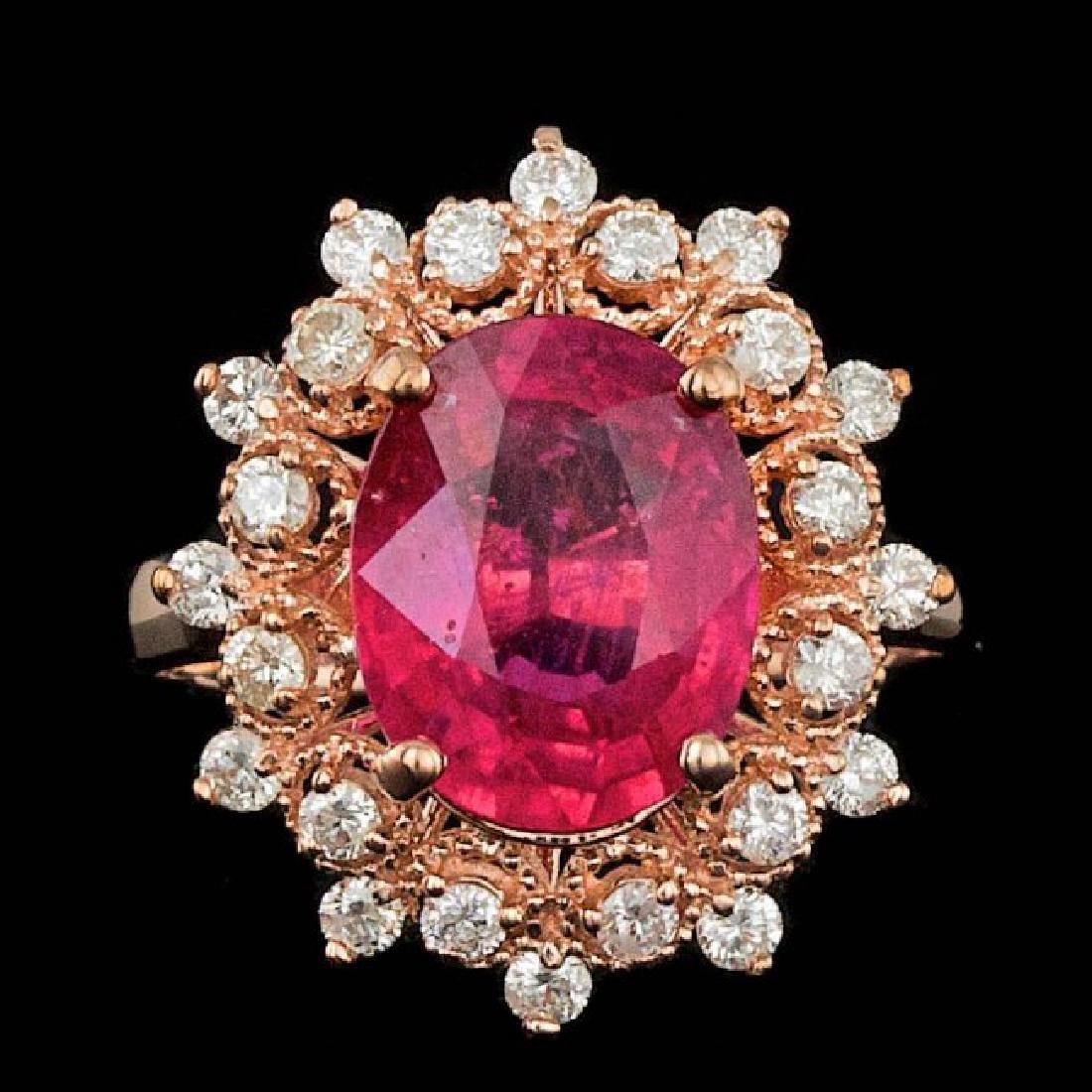 14k Rose Gold 4.00ct Ruby 0.65ct Diamond Ring
