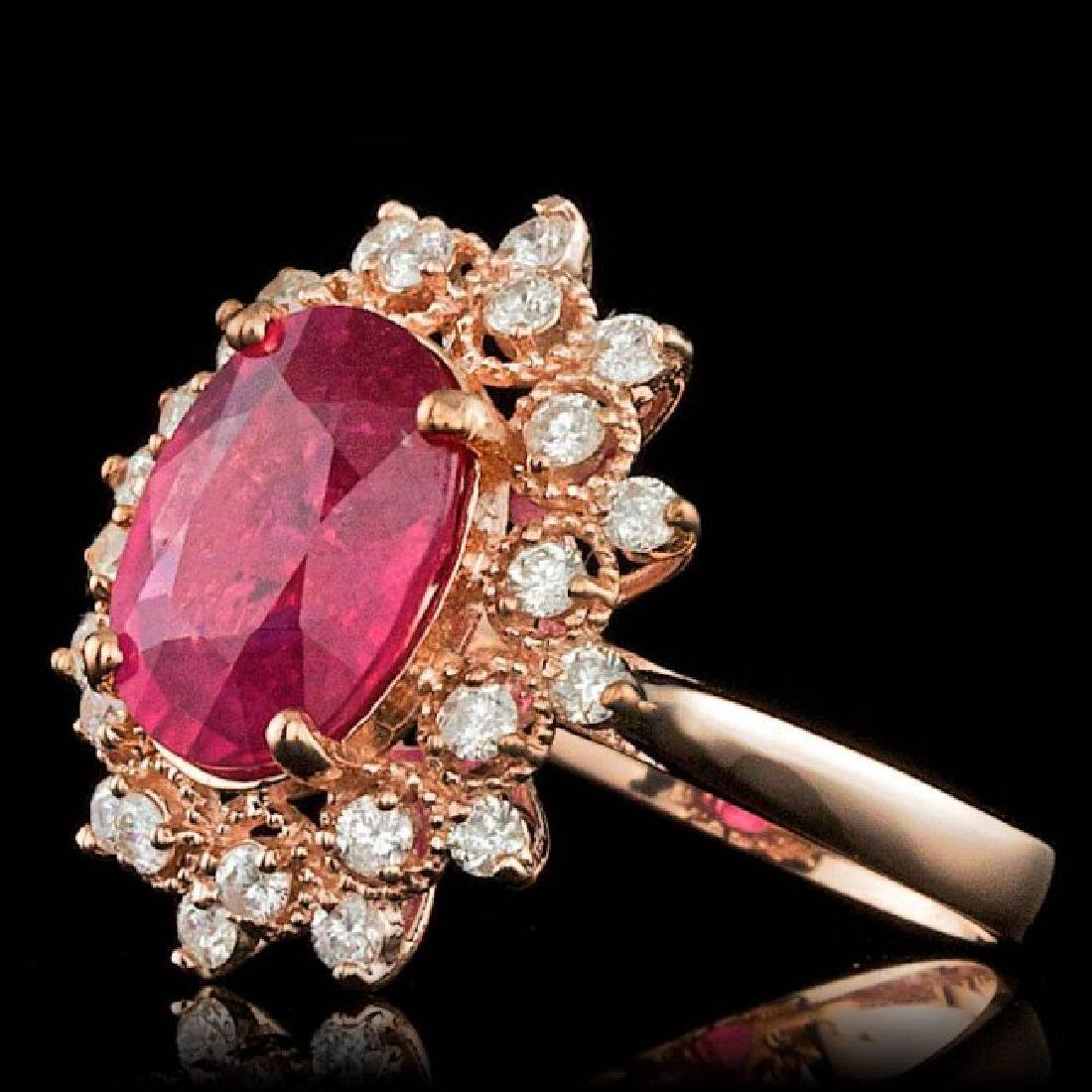 14k Rose Gold 4.00ct Ruby 0.65ct Diamond Ring - 2