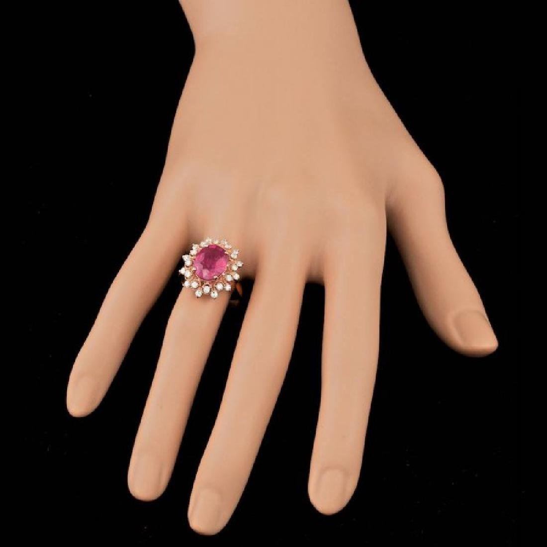 14k Rose Gold 4.00ct Ruby 0.65ct Diamond Ring - 3