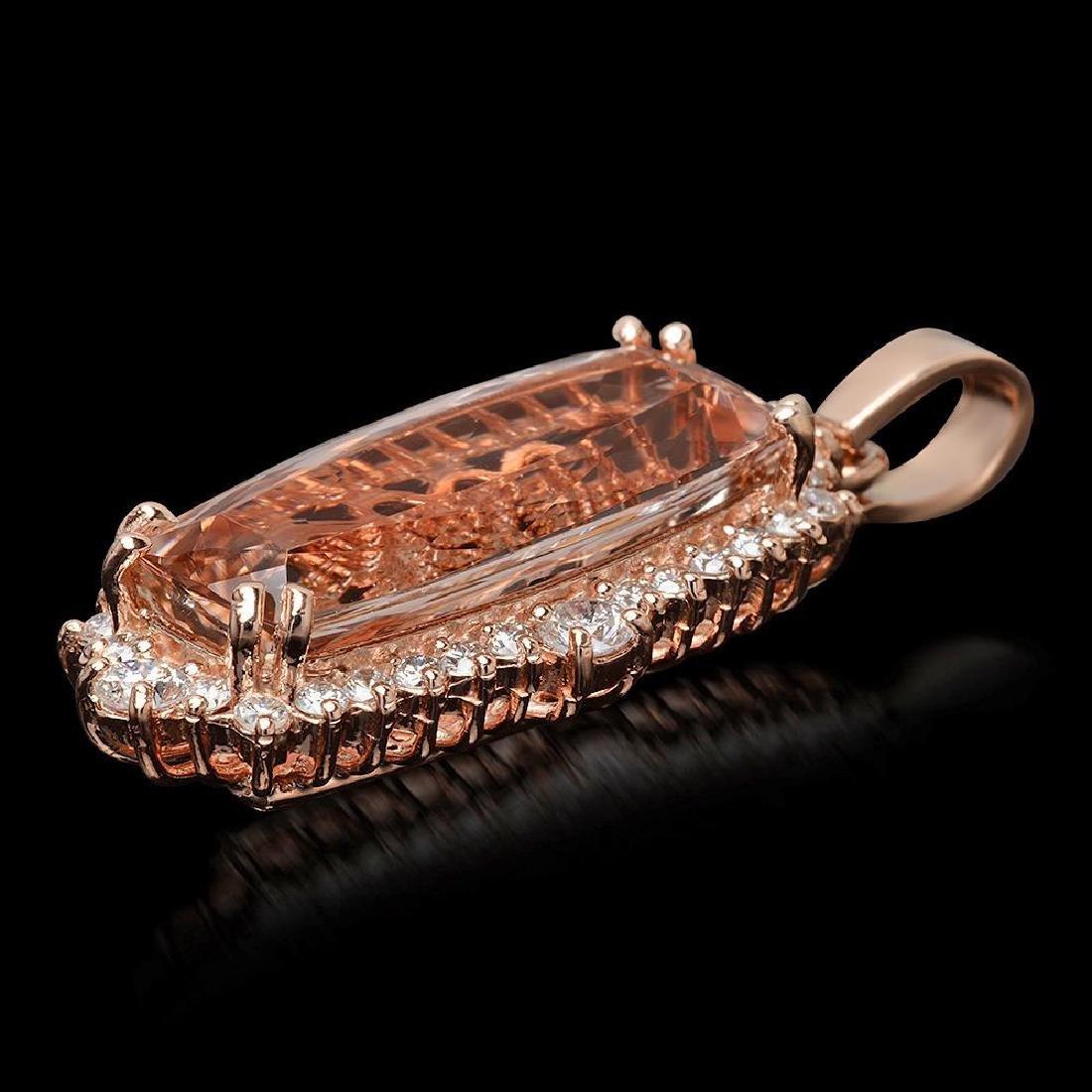 14K Gold 12.37ct Morganite 1.25ct Diamond Pendant - 2