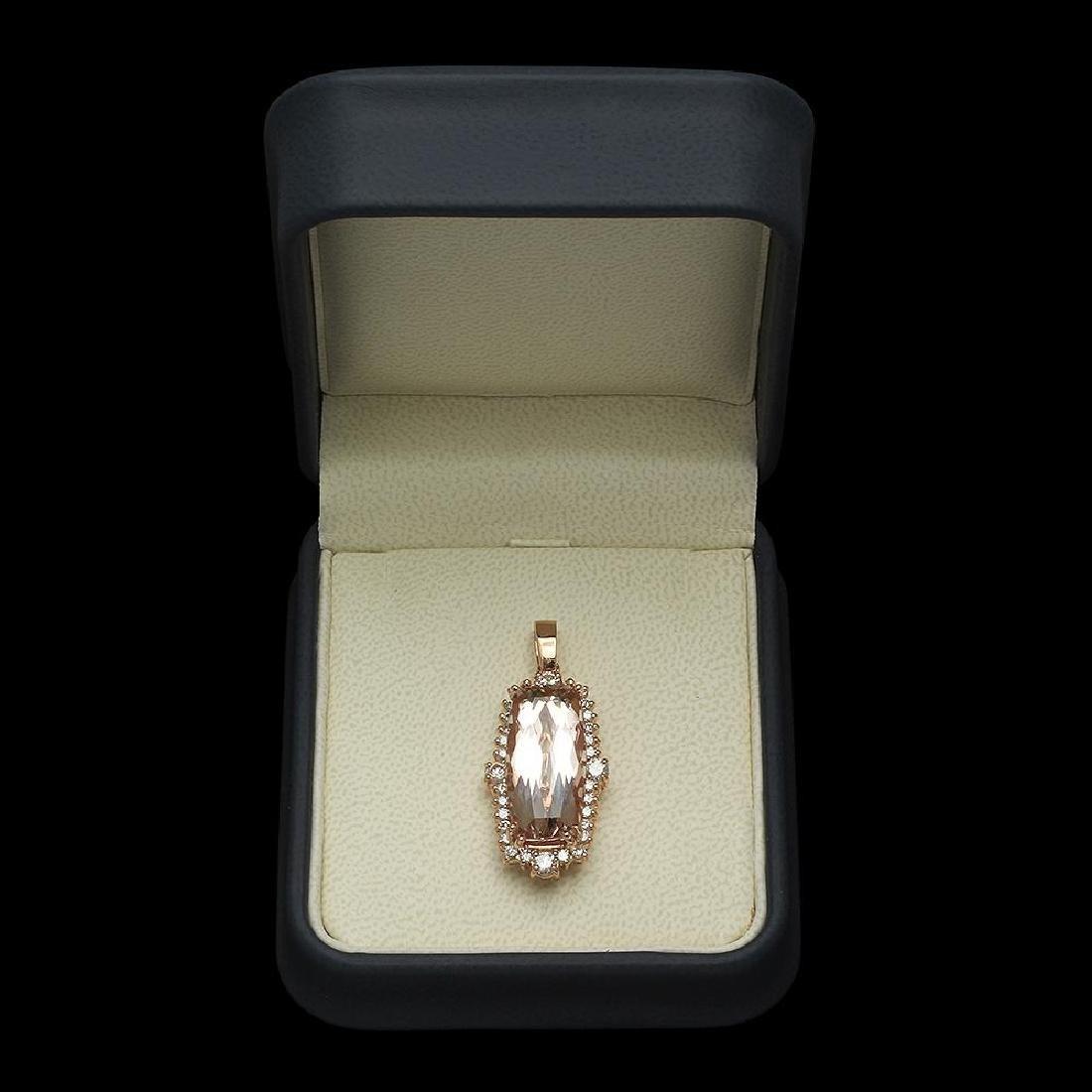14K Gold 12.37ct Morganite 1.25ct Diamond Pendant - 3