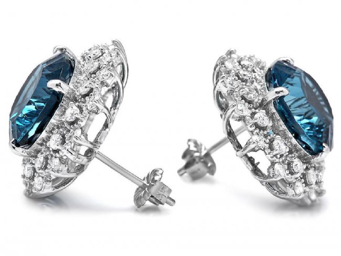14k Gold 17.00ct Topaz 1.50ct Diamond Earrings - 2