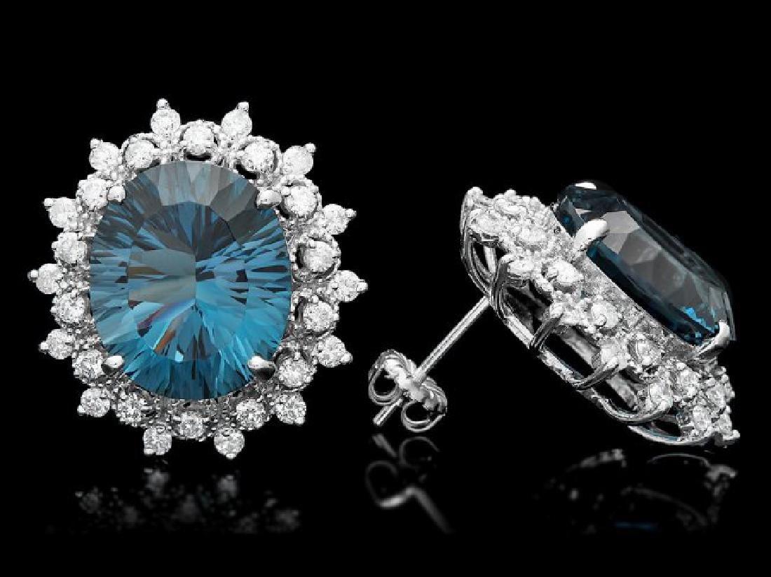 14k Gold 17.00ct Topaz 1.50ct Diamond Earrings - 3