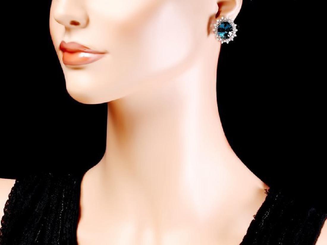 14k Gold 17.00ct Topaz 1.50ct Diamond Earrings - 4