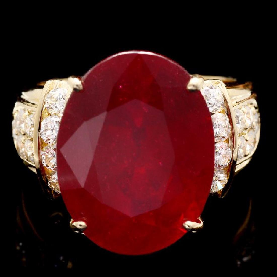 14k Yellow Gold 15.75ct Ruby 0.80ct Diamond Ring