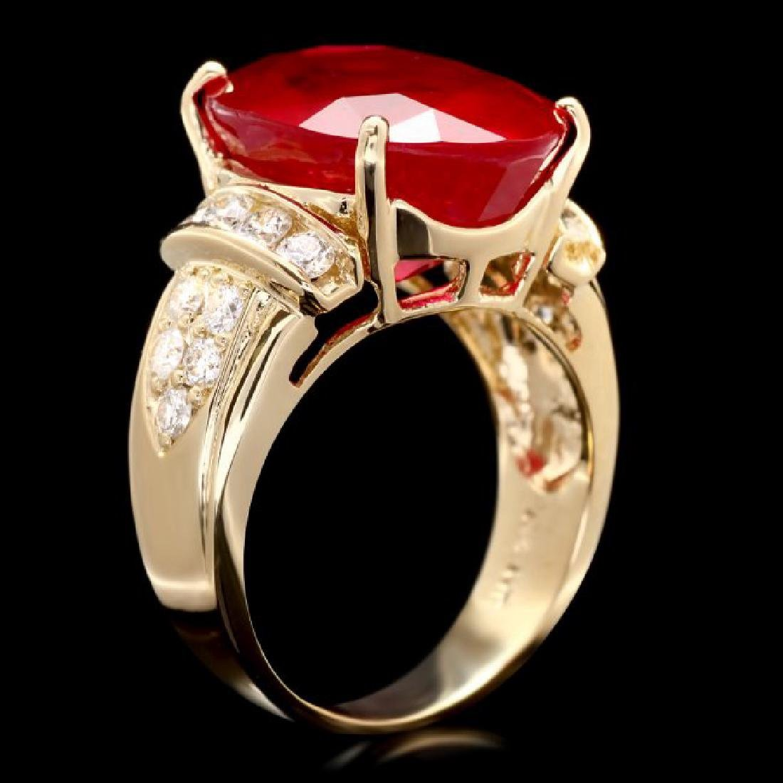 14k Yellow Gold 15.75ct Ruby 0.80ct Diamond Ring - 2