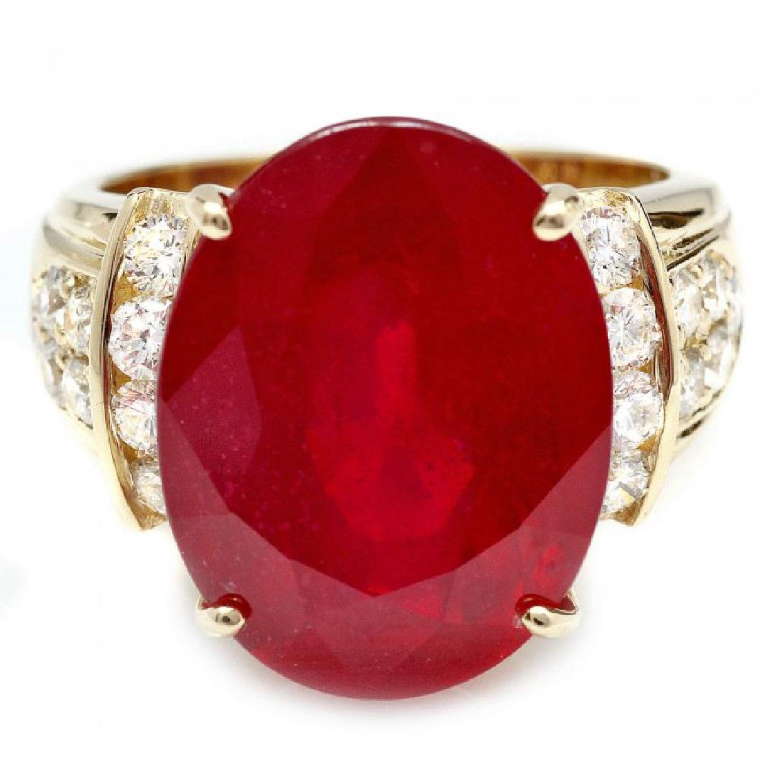 14k Yellow Gold 15.75ct Ruby 0.80ct Diamond Ring - 3