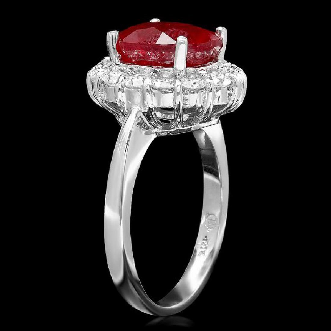 14k White Gold 5.00ct Ruby 0.90ct Diamond Ring - 2