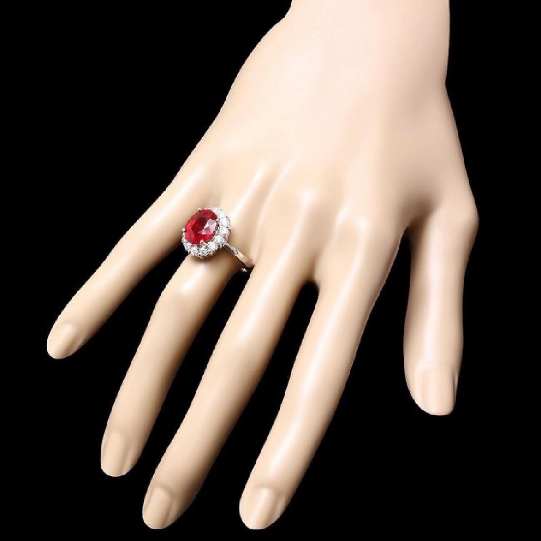 14k White Gold 5.00ct Ruby 0.90ct Diamond Ring - 3