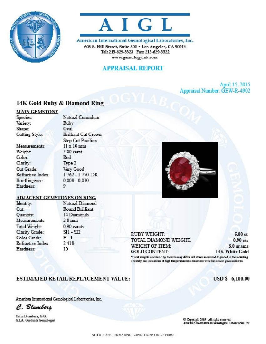 14k White Gold 5.00ct Ruby 0.90ct Diamond Ring - 4