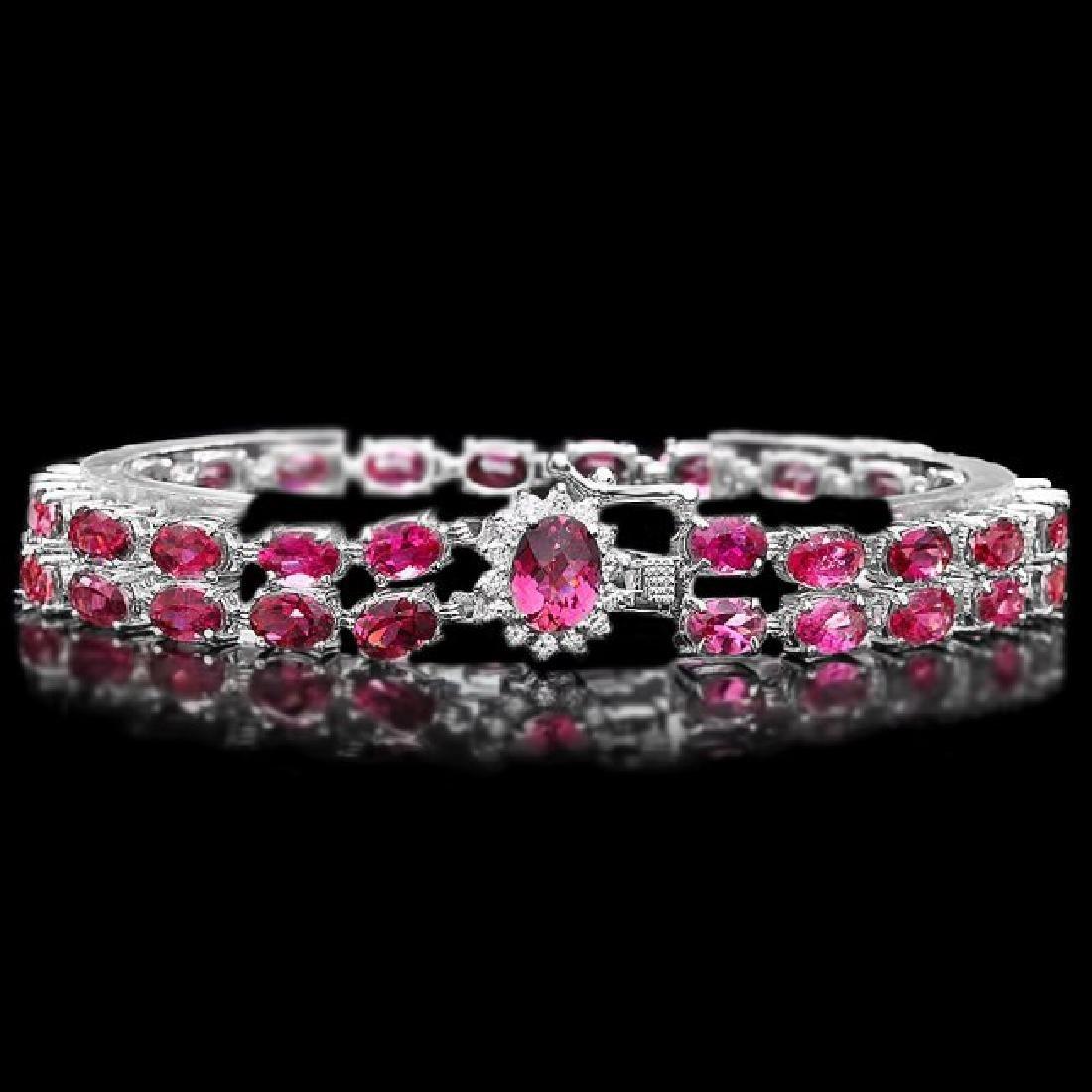 14k 21.2ct Tourmaline 0.40ct Diamond Bracelet
