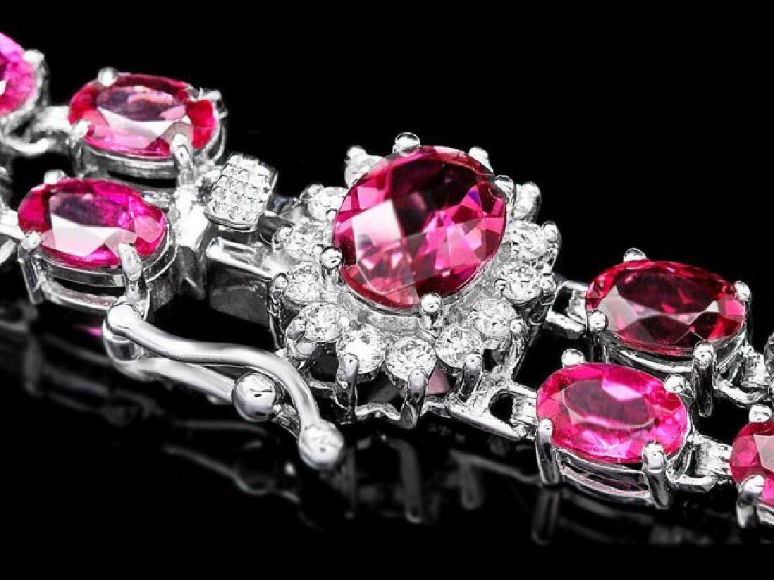 14k 21.2ct Tourmaline 0.40ct Diamond Bracelet - 3