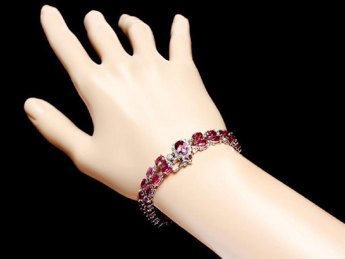 14k 21.2ct Tourmaline 0.40ct Diamond Bracelet - 5