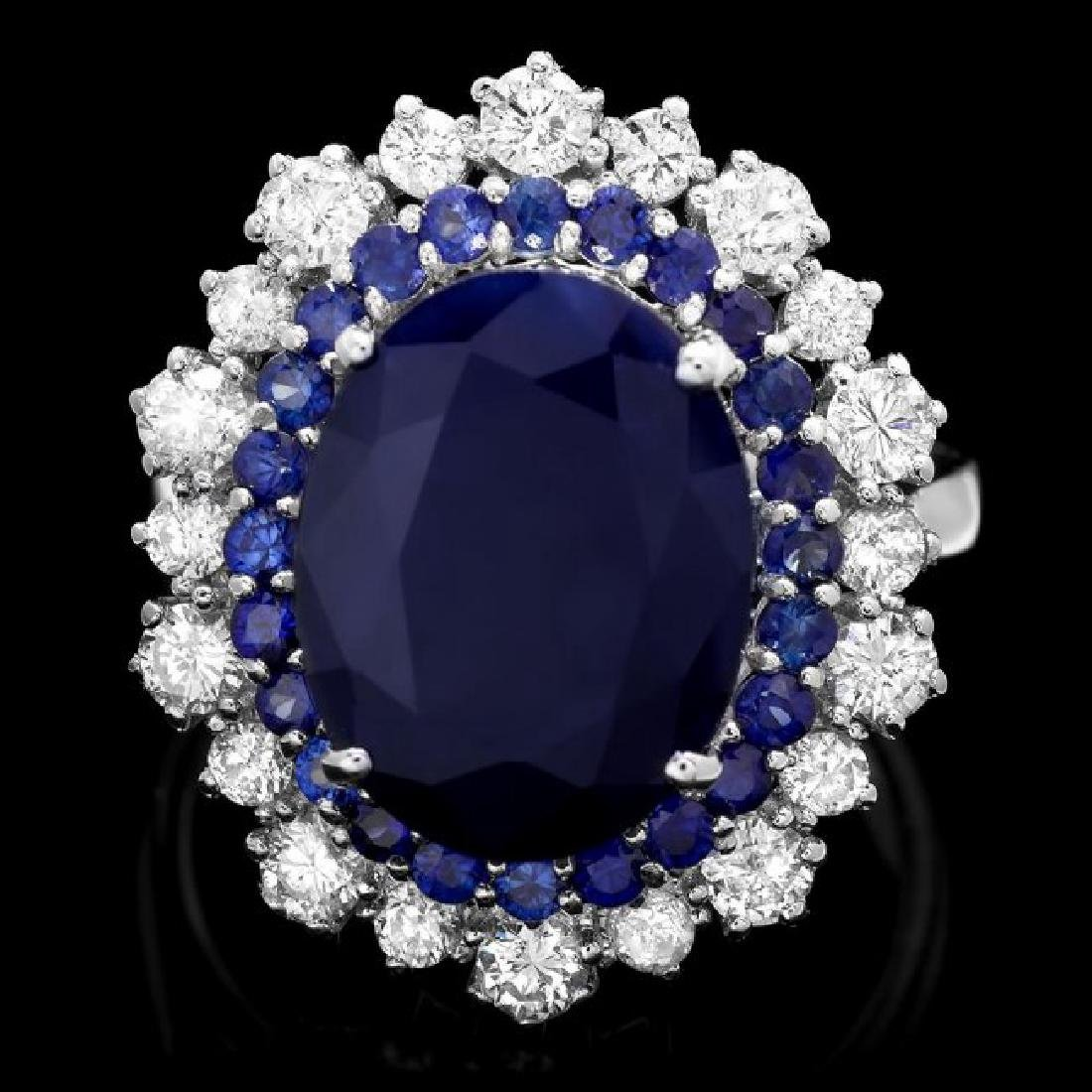 14k White Gold 7.2ct Sapphire 1.00ct Diamond Ring