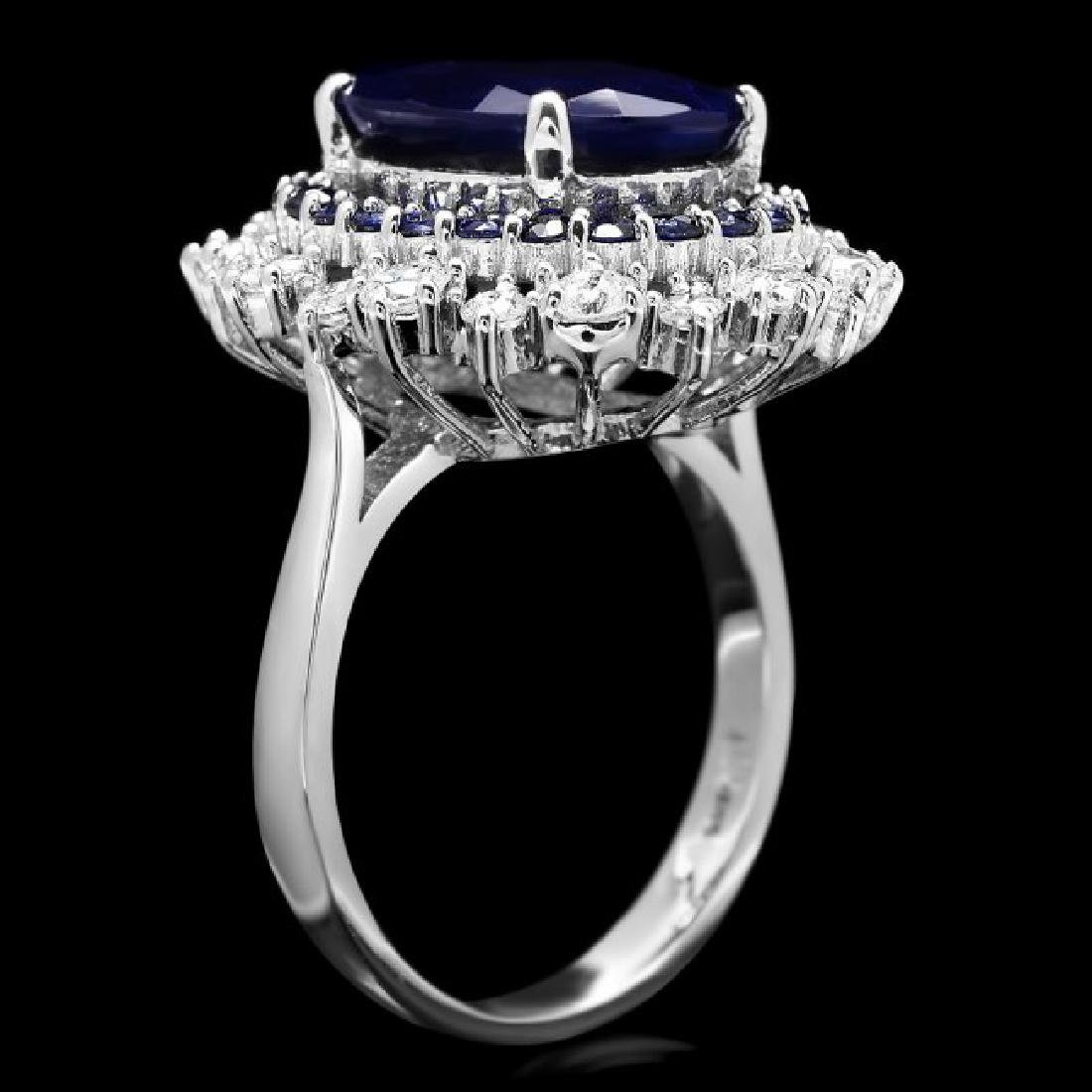 14k White Gold 7.2ct Sapphire 1.00ct Diamond Ring - 3