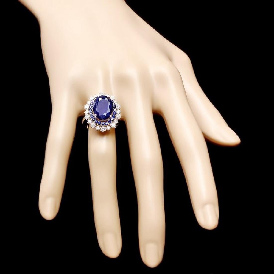 14k White Gold 7.2ct Sapphire 1.00ct Diamond Ring - 4