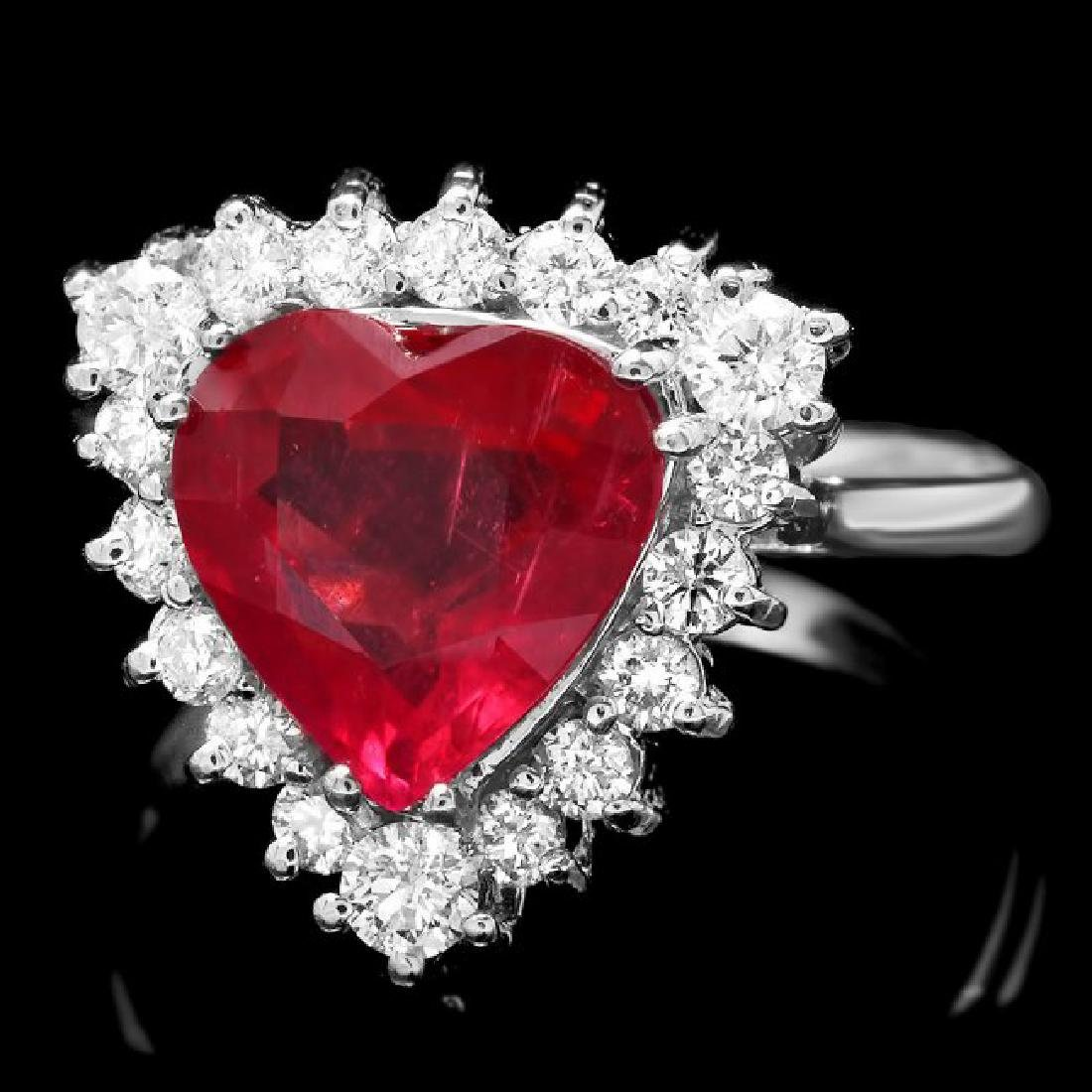 14k White Gold 2.50ct Ruby 0.60ct Diamond Ring
