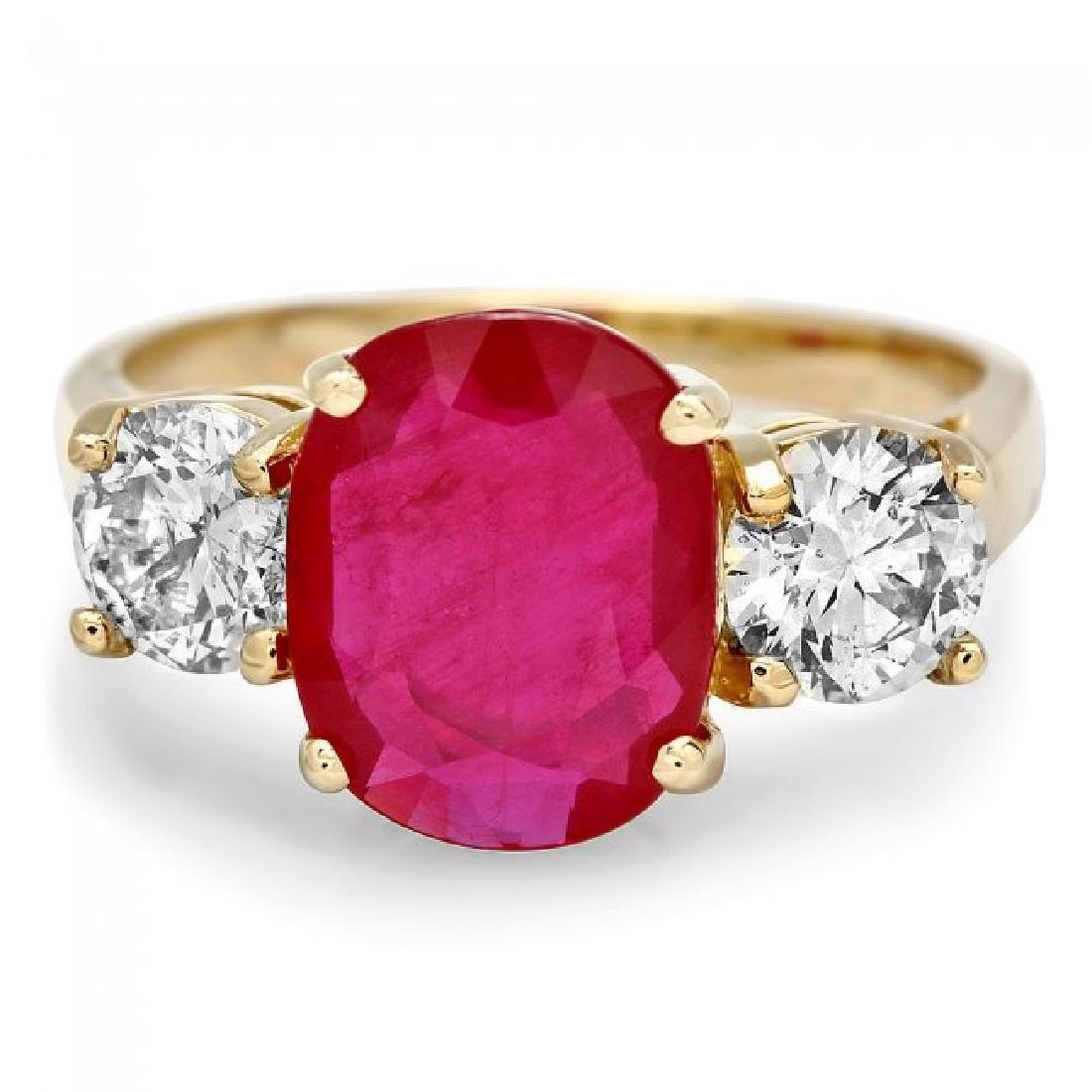 14k Yellow Gold 3.00ct Ruby 1.15ct Diamond Ring - 2