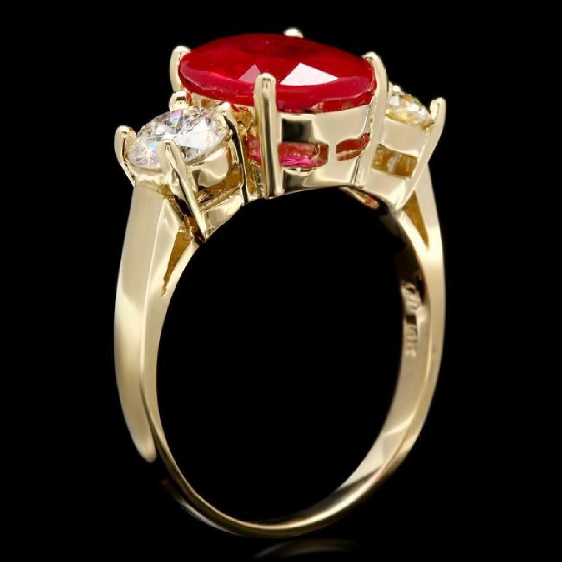 14k Yellow Gold 3.00ct Ruby 1.15ct Diamond Ring - 3
