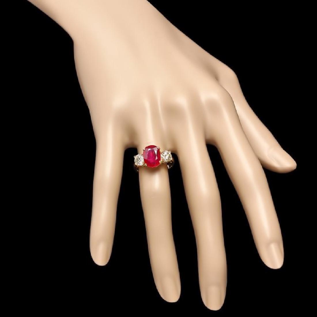 14k Yellow Gold 3.00ct Ruby 1.15ct Diamond Ring - 4