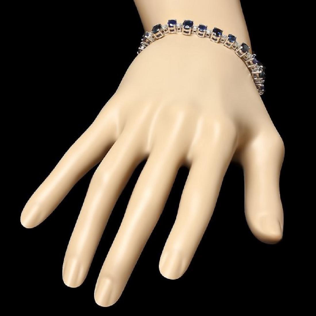 14k Gold 16.30ct Sapphire 1.10ct Diamond Bracelet - 6