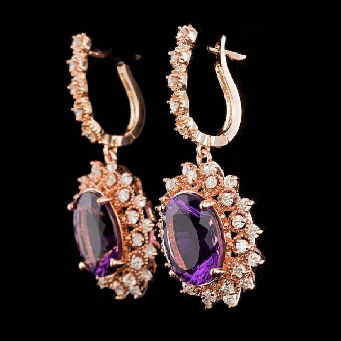 14k Rose 10.00ct Amethyst 1.85ct Diamond Earrings - 2