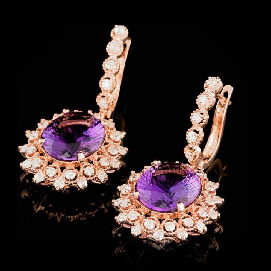 14k Rose 10.00ct Amethyst 1.85ct Diamond Earrings - 3