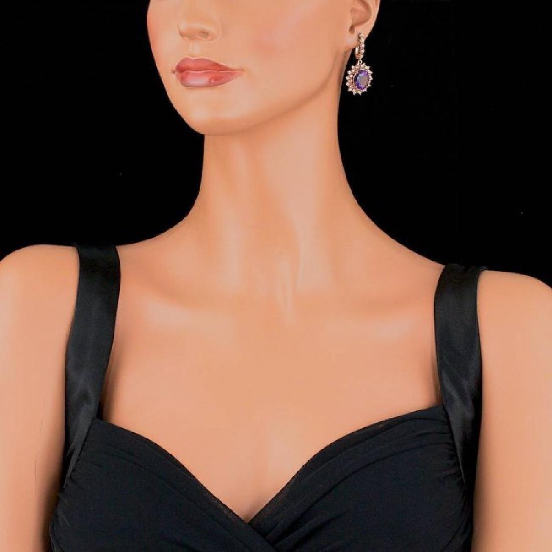 14k Rose 10.00ct Amethyst 1.85ct Diamond Earrings - 4