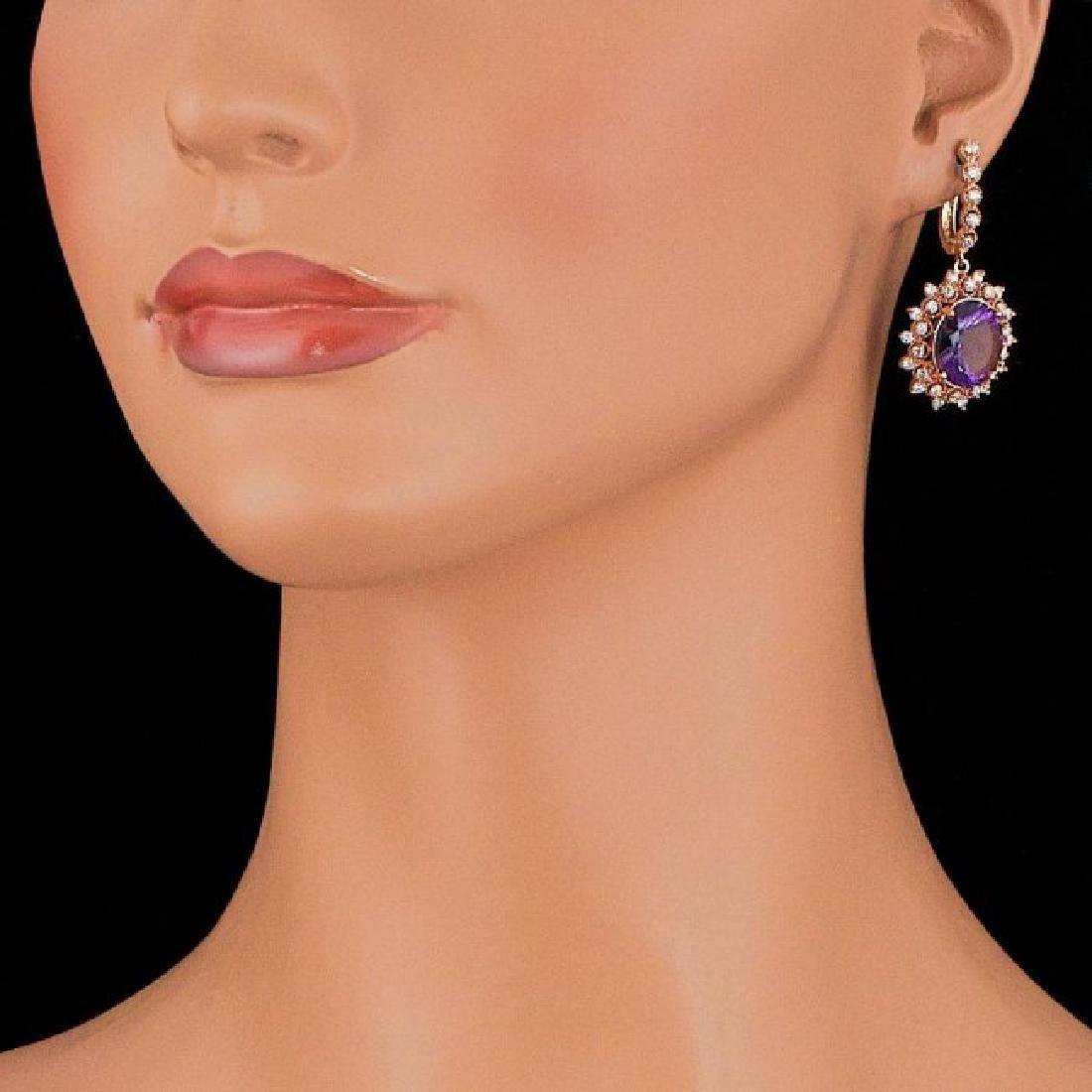 14k Rose 10.00ct Amethyst 1.85ct Diamond Earrings - 5