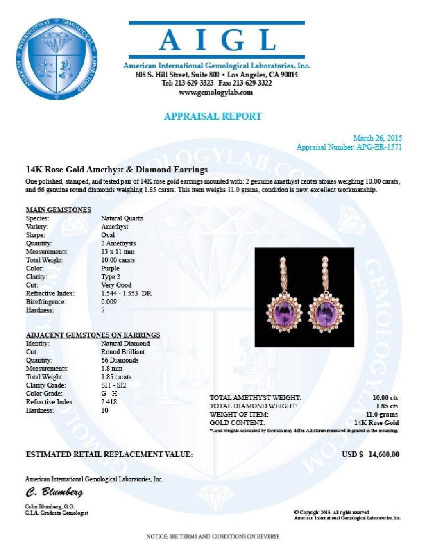 14k Rose 10.00ct Amethyst 1.85ct Diamond Earrings - 6